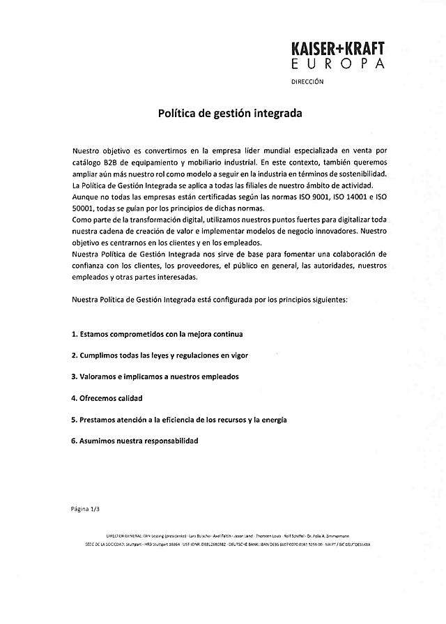 La política de gestión Integrada