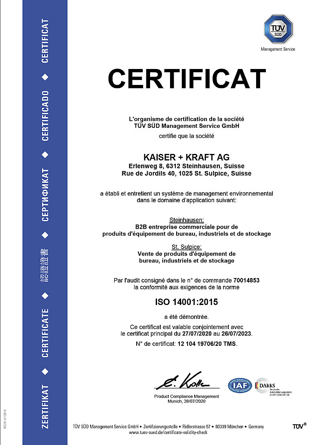 ISO 14001 certificat