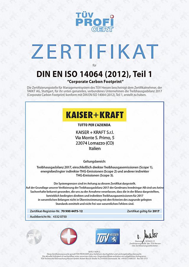 ISO 14064 certificato
