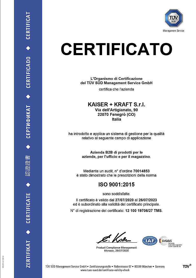 ISO 9001 certificato