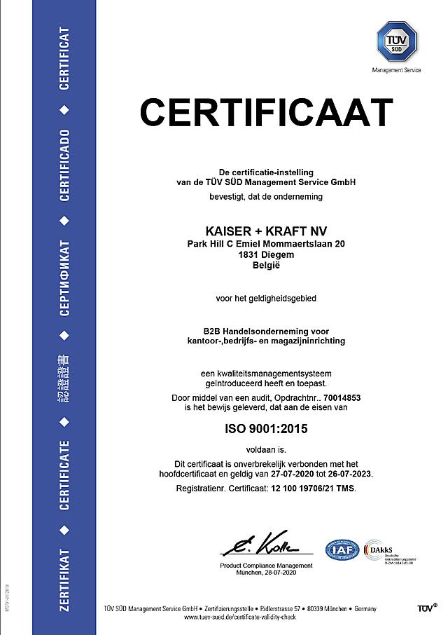 ISO 9001 certifikaat