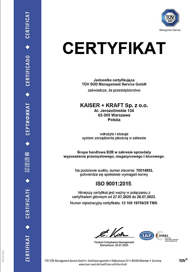 ISO 9001 certyfikat