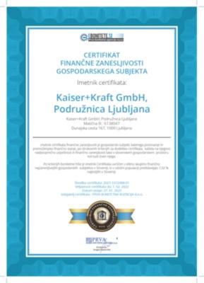 Certifikat finančne zanasljivosti