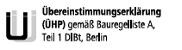 Übereinstimmungserklärung (ÜHP). Gemäß Bauregelliste A Teil 1, DIBt, Berlin.