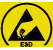 Antistatisch. Dieses Symbol sagt aus, dass das Produkt eine ableitfähige Ausführung ist (im Zusammenhang mit Elektrizität oder statischer Aufladung).