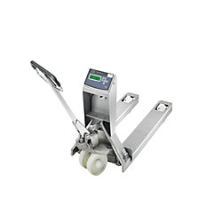 Stainless steel pallet truck with precision scale