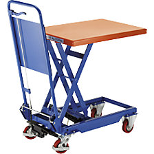Lifting platform trolley with folding handle