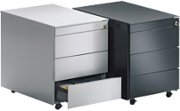 Drawer pedestal with castors
