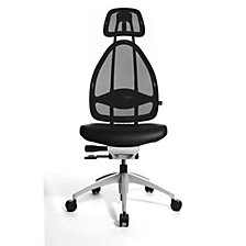 Designer office swivel chair, with head rest and mesh back rest