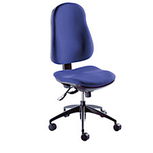 without arm rests, blue covering