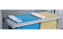 Suspension file drawer on telescopic rails