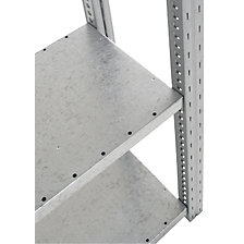 Shelf for heavy duty boltless shelving unit