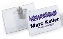 Name badges with combination clasp