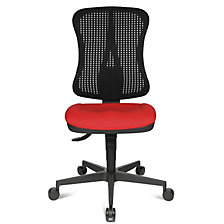 red seat, black mesh back rest