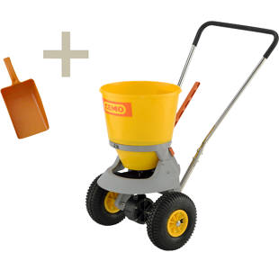 Salt spreader with hand shovel