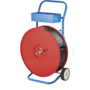 Strap dispenser for rolls up to 150 mm wide