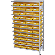 rayonnage additionnel, profondeur 300 mm, 44 bacs jaunes