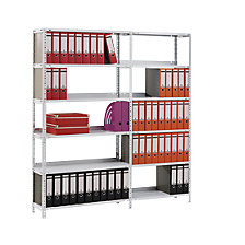 Bolt-together archive shelving, zinc plated