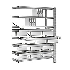 Boltless shelf unit for suspension files