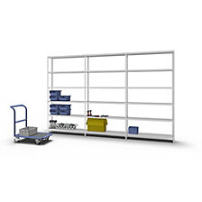 Bolt-together shelf unit, light duty, plastic coated