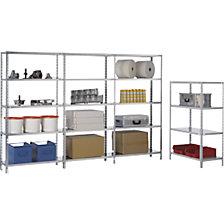 Bolt-together storage shelving, RAL 7035, medium duty