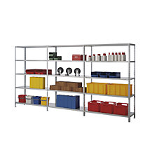 Bolt-together storage shelving, zinc plated, medium duty