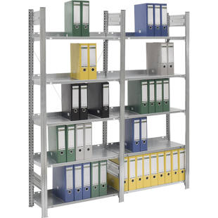 Boltless filing shelf unit, zinc plated