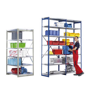 Coloured boltless shelving unit, medium duty, width 1000 mm