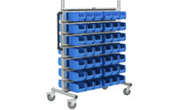 Aluminium mobile rack and free-standing shelf unit