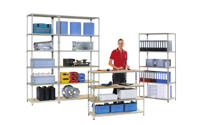 Combination boltless shelving component