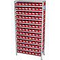basic shelf unit, depth 300 mm, 104 red bins