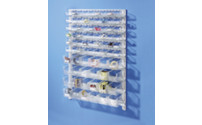 Wall shelf system with open fronted storage bins