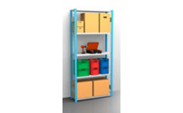 Boltless shelving unit, blue / zinc plated