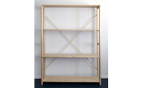 Solid wood boltless shelving unit, varnished with matt finish