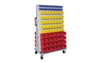 Mobile rack for open fronted storage bins