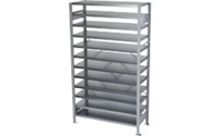 Boltless shelving unit for shelf bins
