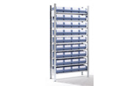 Boltless shelving unit with shelf bins