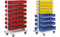 Mobile rack with open fronted storage bins