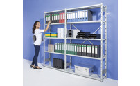 Boltless office shelving unit, plastic coated