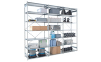 Boltless storage shelving unit, zinc plated shelves