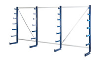 Cantilever racking unit with cantilever arms which taper towards the top