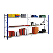 Complete wide span shelf unit with chipboard inserts