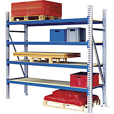 Wide span shelf unit, with zinc plated steel shelves, height 2000 mm