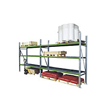 Wide span shelving combination, with zinc plated removable steel shelves