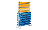 Free standing shelf unit with open fronted storage bins