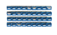 Set of suspension rails with open fronted storage bins
