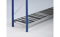 Wide span shelf level with trapezoidal steel supports