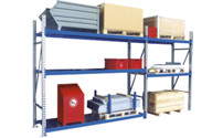 Wide span shelf unit, with zinc plated steel shelves, height 2500 mm
