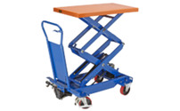 Lifting platform trolley with double scissors