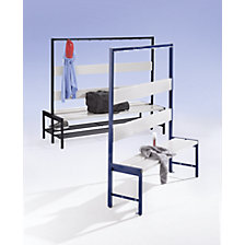 Cloakroom bench with hook rail and plastic seat slats